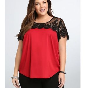 Torrid red satin blouse with black lace detail 0X